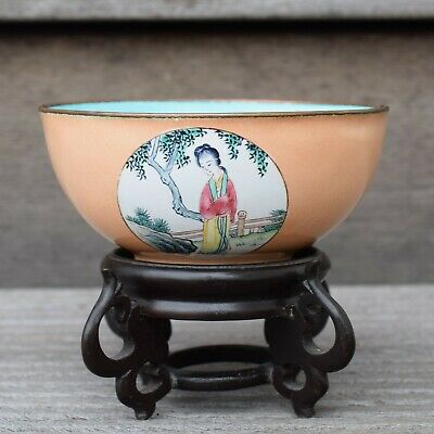Antique Chinese Canton Hand Painted Enamel bowl Republic period