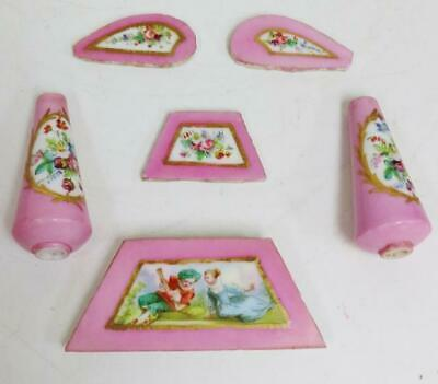 Quality Original Set Antique French Sevres Pink Porcelain Mantle Clock Panels