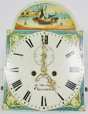 Antique 19thC 8 Day Arch Painted Dial Grandfather Longcase Clock Movement 17x12