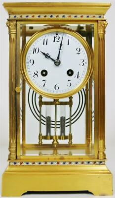 Antique French 8 Day Brass Glass & Champleve 4Glass Table Regulator Mantle Clock
