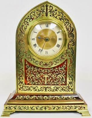 Sublime Antique French 8 Day Red Shell & Boulle Inlaid Gothic Style Mantel Clock