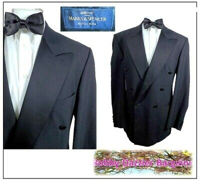 "M&S Mens Double Breasted Black Dinner Tuxedo suit Ch42""R W36"" L31"" Prom Cruise"