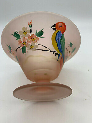 Vintage Pink Satin Depression Glass Bowl Painted Flowers and Bird