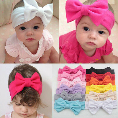 EG_ HK- Newborn Baby Toddler Girl Kid Bow Rabbit Flower Hair Band Turban Headban