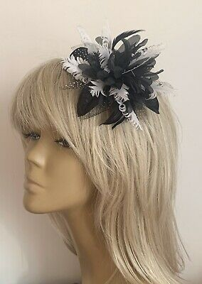 New Girls/Ladies Black/White Hair Fascinator Headpiece Bridesmaids Wedding Races