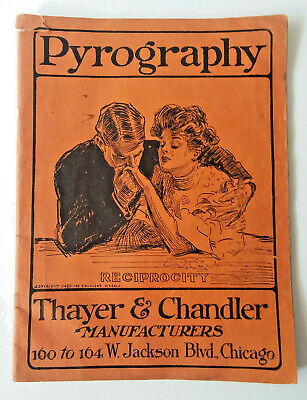 1904 Thayer & Chandler Arts & Crafts Pyrography Catalog & Designs Wood Leather +