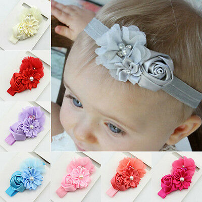 AM_ DR7 Newborn Baby Girls Rose Flower Headband Infant Toddler Hair Band Accesso