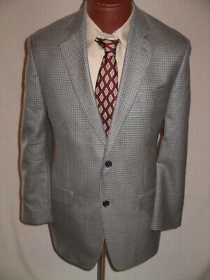 MICHAEL KORS Gray Navy Houndstooth SILK Wool Blazer Sport Coat Jacket  40 R  EUC