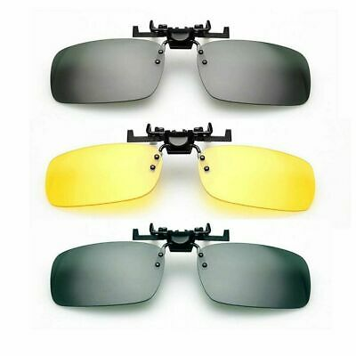 Night Driving Glasses HD Anti Glare Vision Polarised Yellow Lens Clip on Flip up