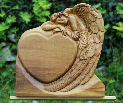 3D carved Wood Guardian Angel heart Home decor