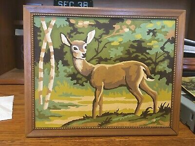 Vintage Completed 8X10 1960's Paint By Number ~ Deer - Doe ~ Very Nice Picture