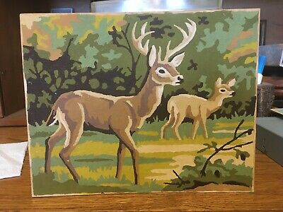 Vintage Completed 8X10 1960's Paint By Number ~2 Deer Buck and Doe  ~ Very Nice