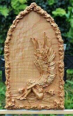 3D carved Wood Angel , Home  Wall  3d decor
