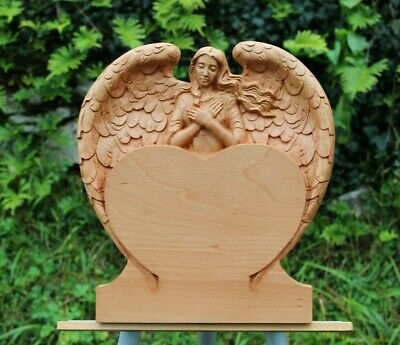 3d carved Wood Guardian Angel