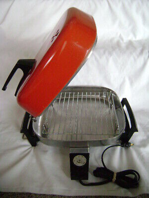 Vintage Sears Roebuck Electric Immersible Fry Pan With Broiler Lid Exc Condition