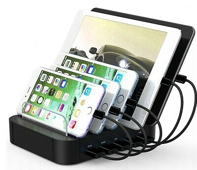 TTPLANET USB Charging Station 5-Port Stand Organizer for iPhone, iPad & Tablets