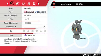 MARSHADOW / Level 100 / 6IV / 100% Légit Pokémon EPEE & BOUCLIER