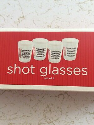WARNING EXCESSIVE CONSUMPTION OF ALCOHOL MAY CONTRIBUTE Set of 4 Shot Glasses