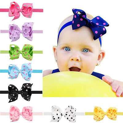EE_ EG_ Toddler Baby Girls Headband Bowknot Polka Dot Hair Band Photography Prop