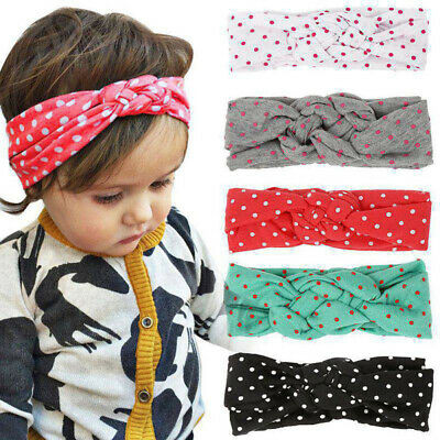 AU_ Baby Toddler Kid Girl Knot Headband Polka Dot Print Elastic Hair Band Headwe