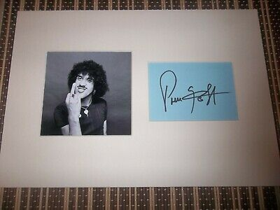 Phil Lynott, Thin Lizzy Singer/Musician, ORIGINAL SIGNED card matted with  Photo