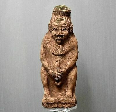 Rare ancient egyptian antique faience statue Bes sculpture 1550-1069 bc