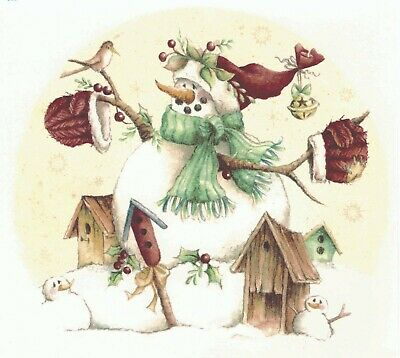 Rustic Snowman Birdhouse Bird Holly Select-A-Size Waterslide Ceramic Decals Xx