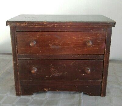 Antique Vintage Wood DOLL CHEST DRESSER Well Made Solid 2 Drawers