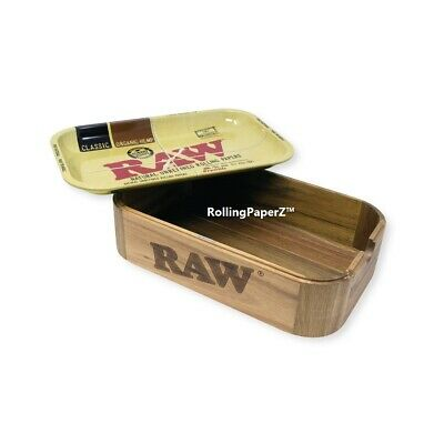 """RAW Rolling Paper Wood """"CACHE"""" STORAGE BOX 11""""x7"""" Metal Tray Top Included"""