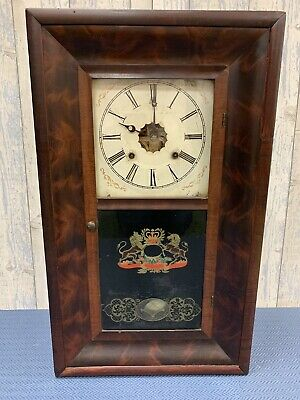 Victorian Ansonia Brass & Copper Co Wall Chiming Clock With Key