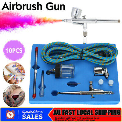 Airbrush Kit Spray Gun Dual Action Air Brush Compressor Paint Art Tattoo Tool AU