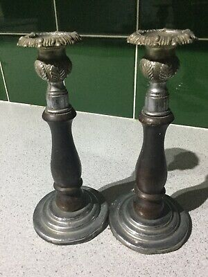 Pair Of Antique Silver Coloured Metal & Dark Wood Candle Sticks For Restoration