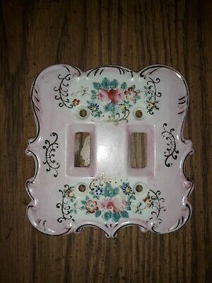 Vintage RARE ROSE Arnart porcelain double light switch cover with sticker
