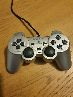 Official Sony Playstation 2 Controller Ps2 Silver Dual Shock