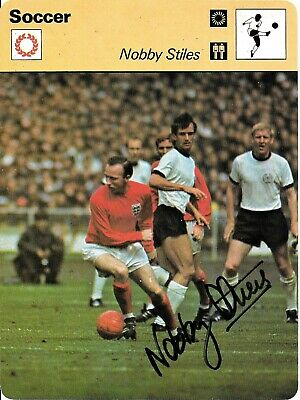 Nobby Stiles Autographed England 1966 World Cup Hand Signed Sportscaster Photo