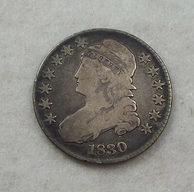 1830 Capped Bust/Lettered Edge Half Dollar VERY GOOD Silver 50c