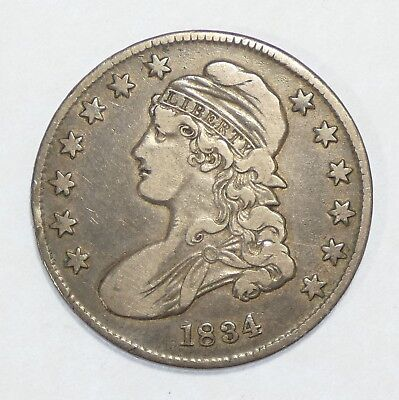 1834 Capped Bust/Lettered Edge SMALL Date SMALL Letters Silver Half $ VERY FINE