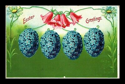 Dr Jim Stamps Flower Eggs Easter Greetings Embossed Topical Postcard