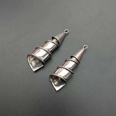 Chinese exotic tribal handmade miao silver twisted DIY embed earring 1pair