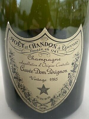 Dom Perignon Vintage 1985 750 ml Empty Champagne Bottle Green - with Cork & Cage