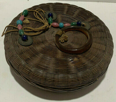 Antique Chinese Sewing Basket Peaking Glass Beads Bangles Coins and Tassels