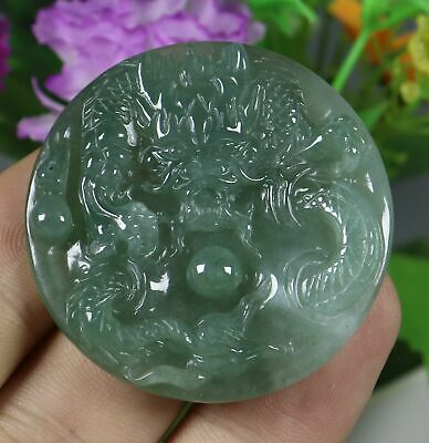 Certified Icy Green 100% Natural A JADE jadeite Pendant Dragon 龙 7743