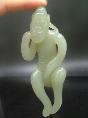 Chinese Antique Celadon Nephrite Hetian- OLD Jade Hollow HUMAN Statue/Pendant