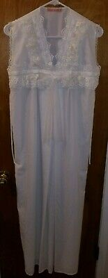 Vintage Nursing Gown Nightgown White Sleeveless Lace Nylon by Blue Moon Small