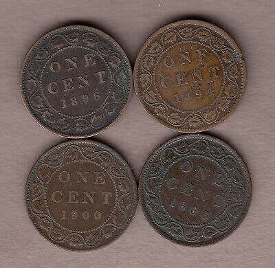 L@@K Dealer Lot 1894, 1896, 1898H, & 1900 Canadian Large Cents ~ F/VF Condition!