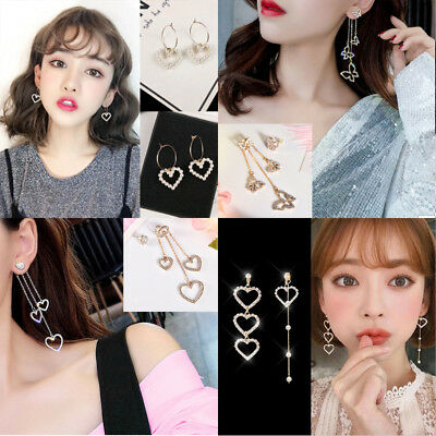 Women Hollow Crystal Rhinestone Butterfly Heart Long Tassel Earrings Jewelry JT