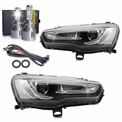 Upgraded SPRAY LACQUER LED Projector Headlights+H7 LED Bulbs for 08-2017 Lancer