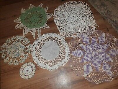 6 Pc Lot Of Vintage Hademade Doilies