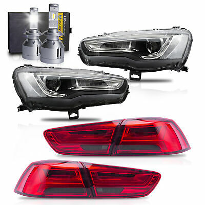 SPRAY LACQUER Projector Headlights+RED Taillights+H7 LED Bulbs for 08-17 Lancer