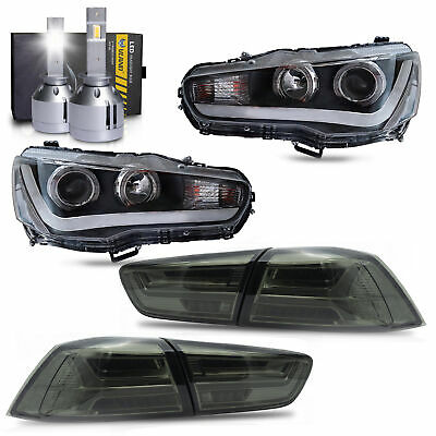 LED Headlights w/ Dual Beam+SMOKE Taillights+H1 LED Bulbs for 2008-2017 Lancer